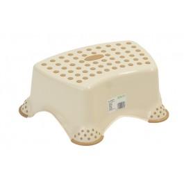 Plastový taburet mini, krémový, 40x28x14 cm