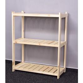 Dřevěný regál LS, 3 police, 86x70x33 cm