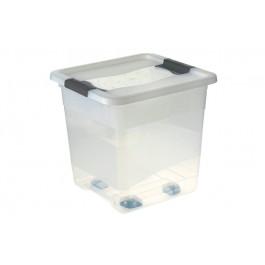 Plastový box Crystal 30 l, průhledný, na kolečkách, 38x36x37 cm - POSLEDNÍ 2 KS