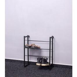 Kovový botník Praktik, černý, 55x46x21 cm, 8 párů bot