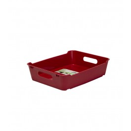 Plastový box LOFT A5, tmavě červený, 28x22x6,5 cm.