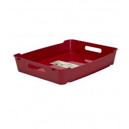 Plastový box LOFT A4, tmavě červený, 37x28,5x6,5 cm.