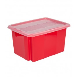 Plastový box Colours, 15 l, červený s víkem