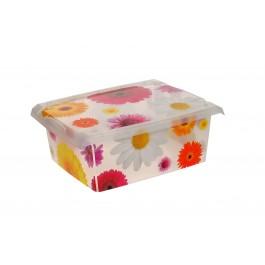"""Plastový box Fashion, """"Pink Flowers"""", 39x29x14 cm"""
