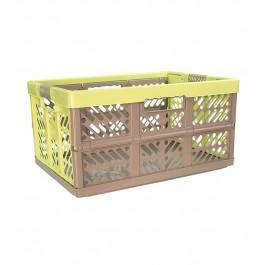 Plastový skládací box, velký, šedo zelený, 54x37x28 cm