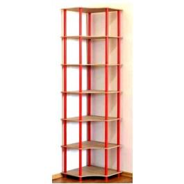 Regál rohový kombinovaný Dedal, 7 polic, 210x55x55 cm