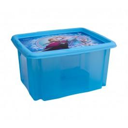Plastový box Frozen, 24 l, modrý s víkem, 41x34x22 cm
