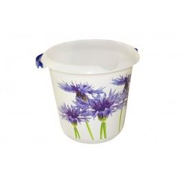 """Plastový kbelík Fashion """"Chrpa"""", 30x28 cm, Objem 10l."""