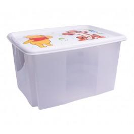Plastový box Medvídek Pú, 45 l, průhledný s bílým víkem, 55x39,5x29,5 cm