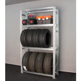 Regál na 8 pneumatik + 2 plné police