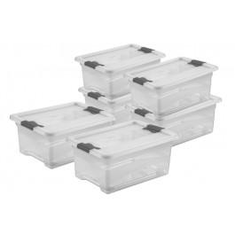 Zvýhodněná sada plastových boxů Crystal 12 l, 6 ks