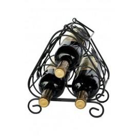 Kovový stojan na 3 lahve, černý, 25,5 x 21,5 x 16 cm