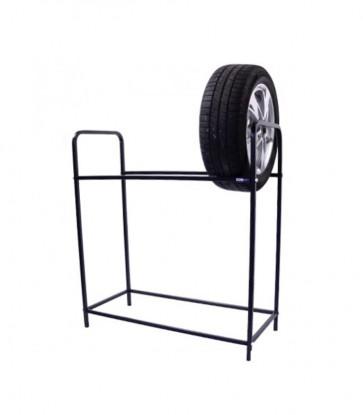 Regál na pneumatiky, černý, 8 ks pneumatik