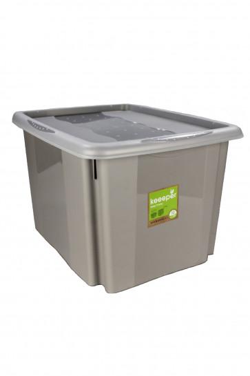 Plastový box Colours, 30 l, šedý s víkem