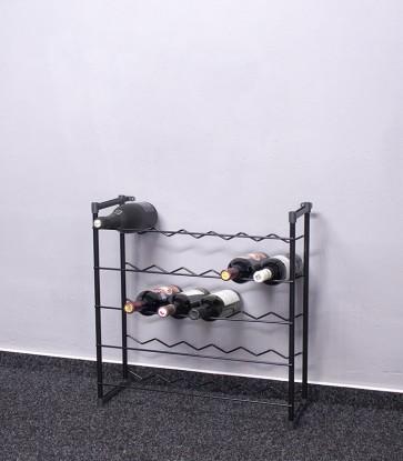 Stojan na víno Klasik, 30 lahví, černý, 60x58x23 cm