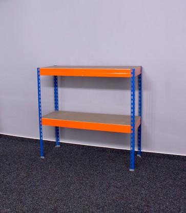 Kovový regál Galaxy, 2 police, 90x100x60 cm, 250 kg, modro oranžový