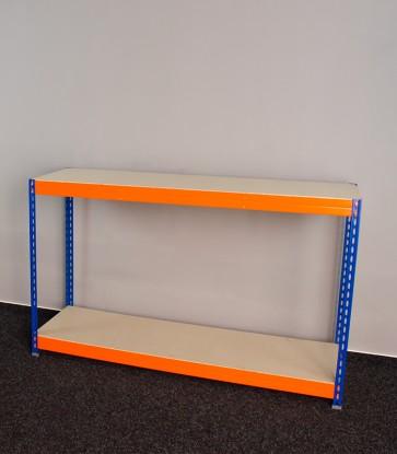 Kovový regál Galaxy, 2 police, 96x160x50 cm, 250 kg, modro oranžový