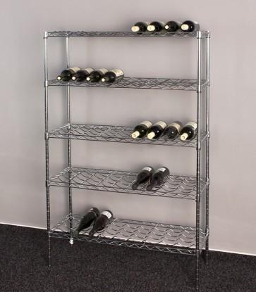 Chromovaný stojan na víno Deluxe, 45 lahví, 140x90x35 cm