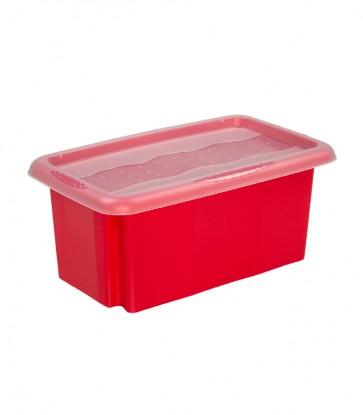 Plastový box Colours, 7 l, červený s víkem POSLEDNÍCH 11 KS