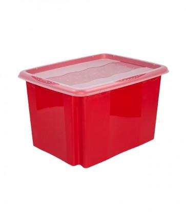 Plastový box Colours, 30 l, červený s víkem