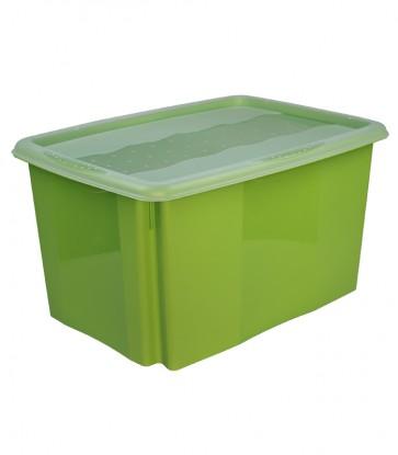 Plastový box Colours, 45 l, zelený s víkem