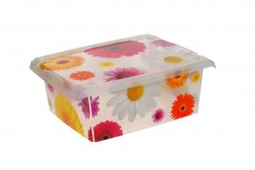 """Plastový box Fashion, """"Pink Flowers"""", 39x29x14 cm - POSLEDNÍ 3 KS"""