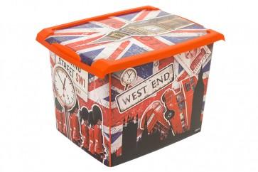 """Plastový box Fashion, """"LONDON"""", 39x29x27cm - POSLEDNÍ KUS"""