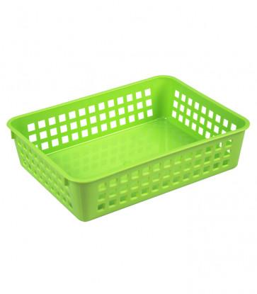 Plastový košík, A5, zelený, 24,5x18,5x6 cm - POSLEDNÍ 3 KS