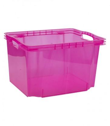 Plastový box Multi M, svěží růžový, bez víka, 35x27x21 cm