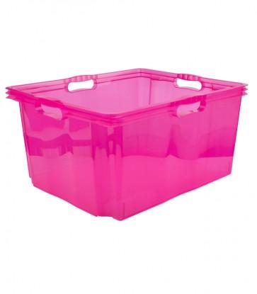 Plastový box Multi XXL, svěží růžový, bez víka, 52x43x26 cm