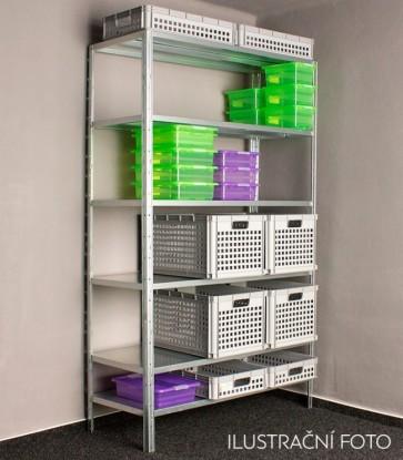 Kovový regál Idea, 7 polic, 300x100x30 cm, 90kg