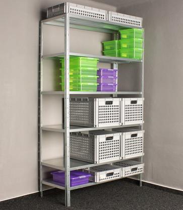 Kovový regál Idea, 6 polic, 300x80x50 cm, 140kg