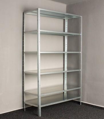 Kovový regál Idea, 6 polic, 300x80x30 cm, 100kg