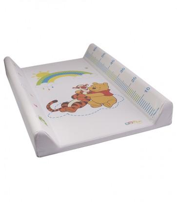 Dětská přebalovací podložka Medvídek Pú v bílé barvě s metrem - 70x50x10 cm