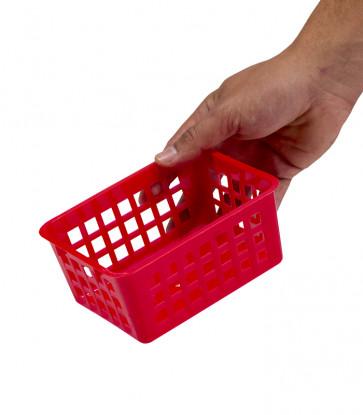 Plastový košík, A7 červený, 14x11x6 cm