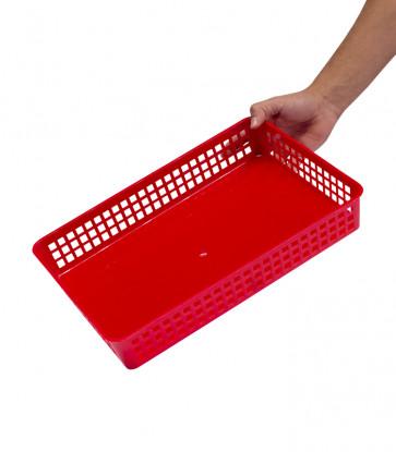 Plastový košík, A4, červený, 36,5x24,5x6 cm - POSLEDNÍ 2 KS