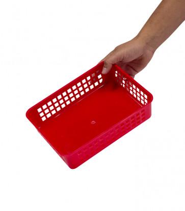Plastový košík, A5, červený, 24,5x18,5x6 cm - POSLEDNÍCH 8 KS