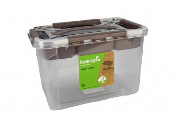 Plastový Clipp box s přihrádkou, 15,3 l , průhledný ,39x19x18 cm