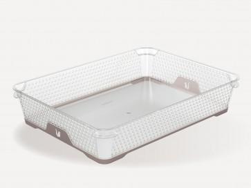 Plastový košík Jonas s protiskluzovým dnem, A4, šedý, 36x26,5x7 cm