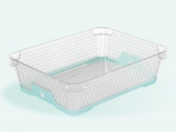 Plastový košík Jonas s protiskluzovým dnem, A5, modrý, 26,5x20x7 cm