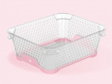 Plastový košík Jonas s protiskluzovým dnem, A6, růžový, 20x16x7 cm