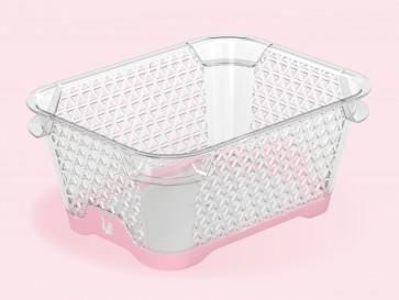 Plastový košík Jonas s protiskluzovým dnem, A7, růžový, 16x12x7 cm
