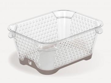 Plastový košík Jonas s protiskluzovým dnem, A7, šedý, 16x12x7 cm
