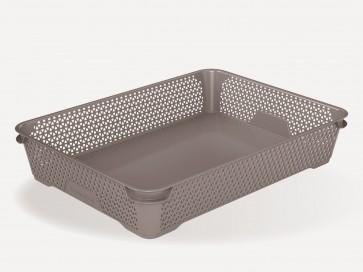 Plastový košík Mirko, A4, šedý, 36x26,5x7 cm