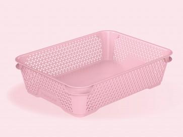 Plastový košík Mirko, A5, růžový, 26,5x20x7 cm