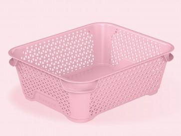Plastový košík Mirko, A6, růžový, 20x16x7 cm