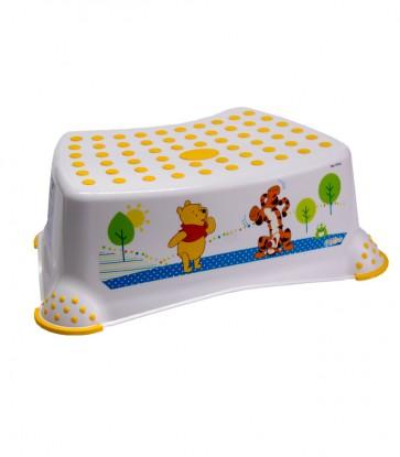 Dětský taburet v bílé barvě s motivem Medvídka Pú - 40x28x14 cm