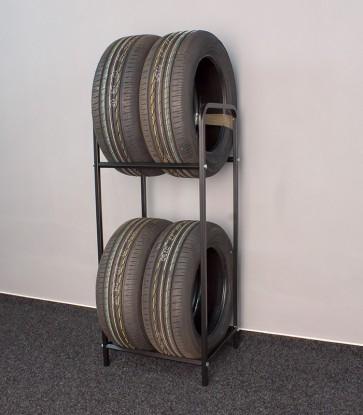 Regál na pneumatiky, černý, 4 ks pneumatik