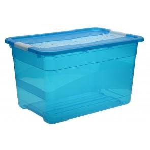 Plastový box Crystal 52 l, svěží modrý, 59,5x39,5x34 cm