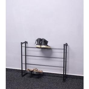 Kovový botník Praktik, černý, 53x66x21 cm, 12 párů bot